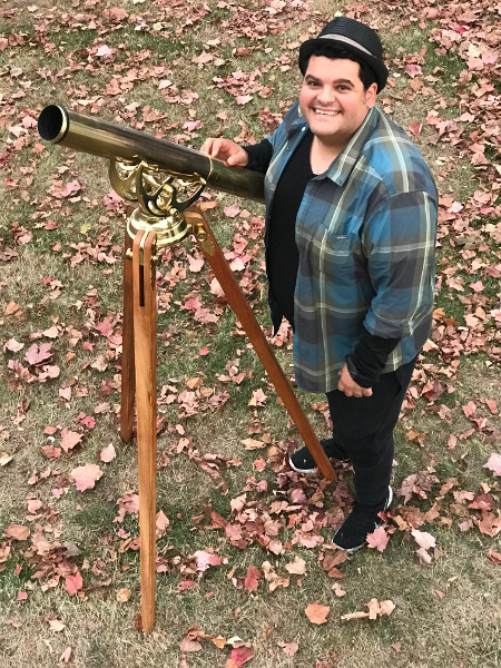 Harout with antique brass telescope