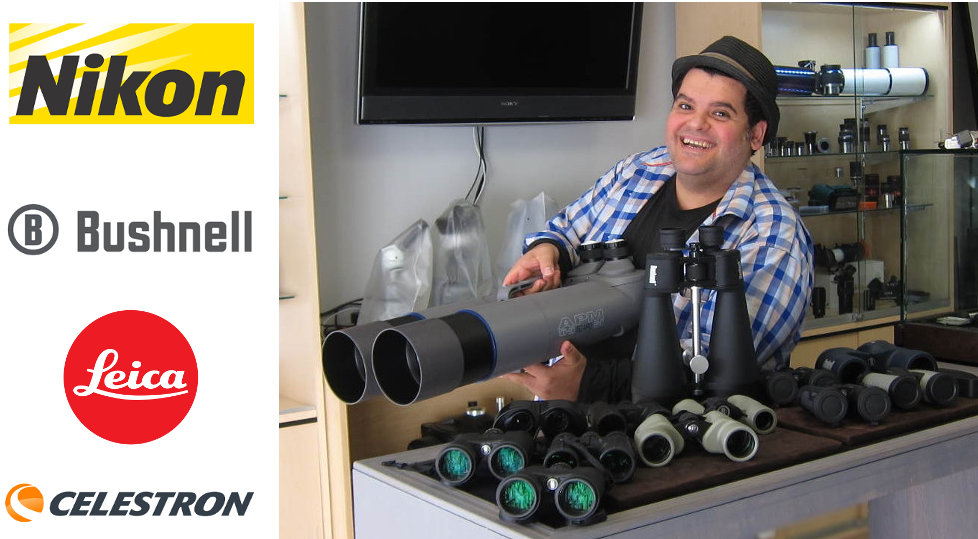 Harout showing a variety of models of binoculars